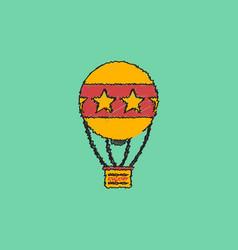 circus watercolor hot air balloon in hatching vector image vector image