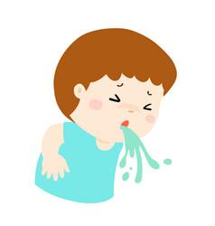 sick boy vomiting cartoon vector image vector image