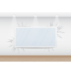 Blank frame in the gallery on the wall vector image