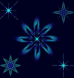 Blue snowflakes icicles and stars vector image