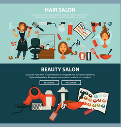hairdresser beauty salon flat web banners vector image vector image