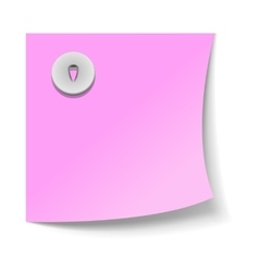 Note paper with push pin icon realistic style vector image vector image