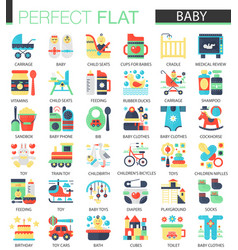 set of flat baby kid icons vector image