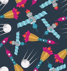 Space transport seamless pattern Spaceship rocket vector image