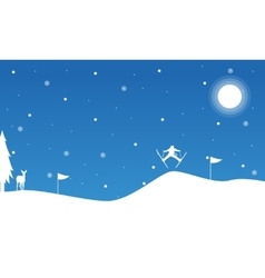 Christmas landscape people skiing on snow vector
