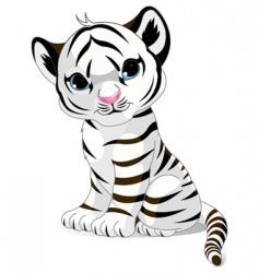 cute white tiger cub vector image