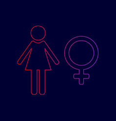 female sign line icon with vector image