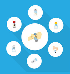 flat icon flavor set of condiment pour salt and vector image vector image