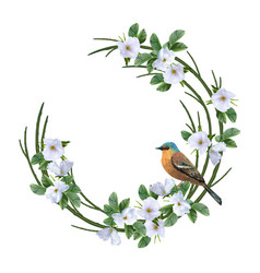 floral wreath and bird vector image