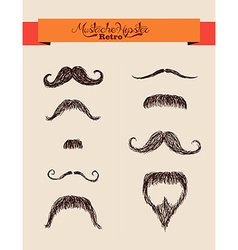 Hipsters elements mustaches set eps10 file vector