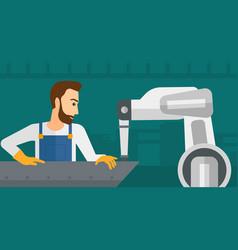 man working on industrial welding robotic arm vector image vector image