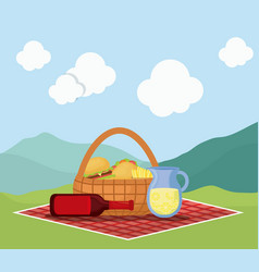 picnic basket with snack design vector image