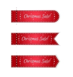 Set of three Christmas tags festive red with vector image vector image