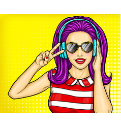 sexy pop art girl holding hands to his mouth and vector image