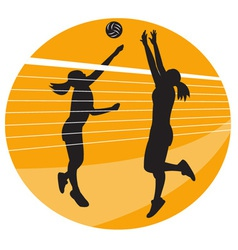 volleyball player spiking hitting ball vector image vector image