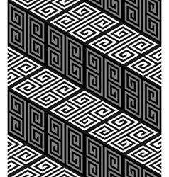 3D Zig Zag Stairs Op Art Seamless Pattern vector image