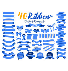 40 blue ribbon vector