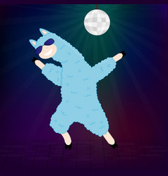 a dancing llama with sunglasses vector image