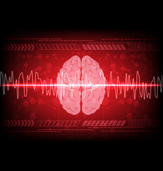 Abstract brain wave concept on blue background vector