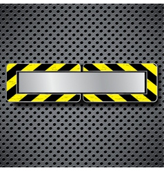 Abstract metal background with warning stripe vector image
