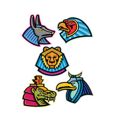 Ancient egyptian animal gods collection vector
