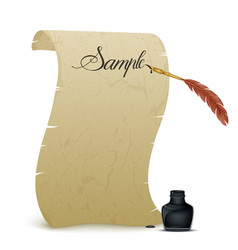 Ancient parchment with feather and inkwell vector