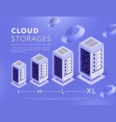 Arranged clouds storage server centers vector