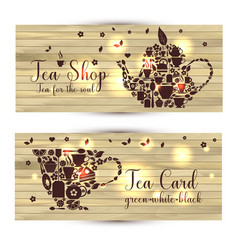 Banners of tea on wooden background teapot vector