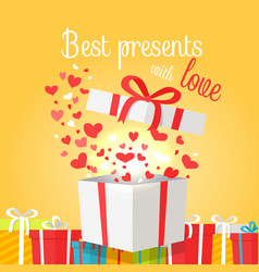 Best presents with love on yellow background vector