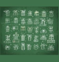 big set doodle christmas gift boxes on vector image