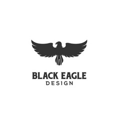 Black bold strong eagle hawk falcon bird logo vector