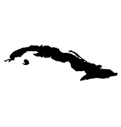 black silhouette country borders map of cuba on vector image