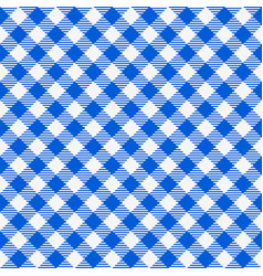 blue and white seamless checkered tablecloth vector image