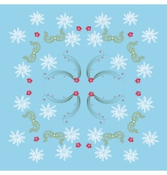 Blue Pattern with Mistletoe and Snowflakes vector