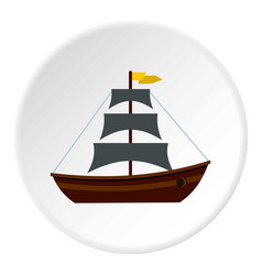 Boat with sails icon circle vector
