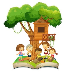 Book of children and treehouse vector