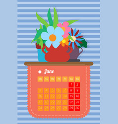 calendar for the summer month june vector image