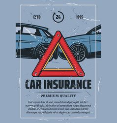 Car insurance vintage poster with road accident vector