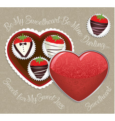 Chocolate-dipped strawberries vector