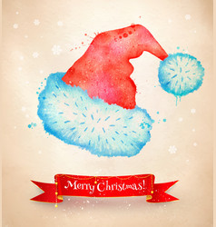 Christmas vintage postcard with santa hat vector