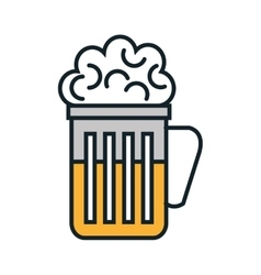 Cold and delicious beer glass vector