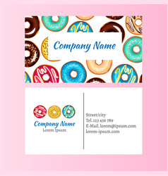colored donut glaze business card vector image
