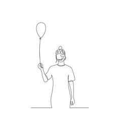 Continuous one line woman with air balloon in her vector