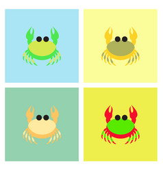 Crab in cartoon style seafood product design set vector