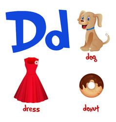 Cute kids cartoon alphabet letter d vector