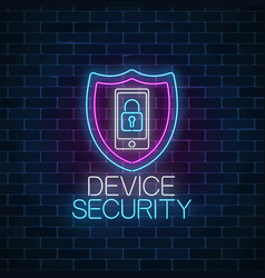 Device secure glowing neon sign cyber security vector