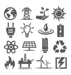 energy icons set on white background vector image