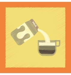Flat shading style icon coffee carton of milk vector