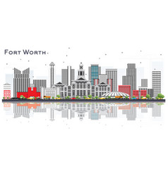 fort worth usa city skyline with gray buildings vector image