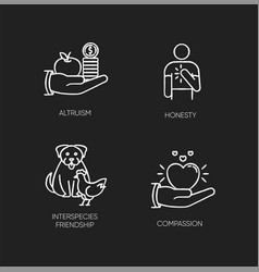 Friendly support chalk white icons set on black vector